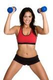 健身讲西班牙语的美国人妇女 库存照片