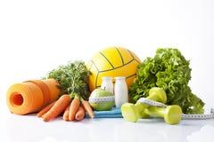 健身食物和体育活动概念 免版税图库摄影