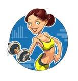 健身 有哑铃的体育女孩 库存照片
