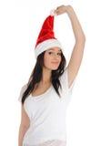 偶然克劳斯俏丽的圣诞老人妇女 免版税库存图片