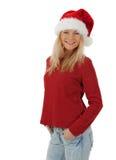 偶然圣诞节女孩微笑 免版税库存照片