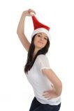 偶然圣诞节滑稽的帽子俏丽的妇女 库存照片