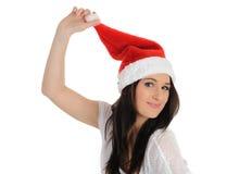 偶然圣诞节滑稽的帽子俏丽的妇女 免版税库存图片