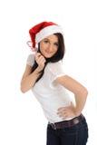 偶然圣诞节滑稽的帽子俏丽的妇女 库存图片