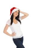 偶然圣诞节滑稽的帽子俏丽的妇女 免版税库存照片