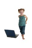 偶然女孩膝上型计算机 库存图片