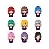 偶然学校女孩- 9种不同头发颜色 免版税图库摄影