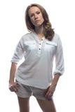 偶然衬衣的严肃的妇女 免版税库存图片