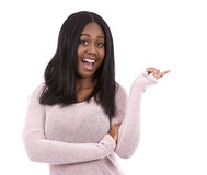 偶然黑人妇女指向 免版税库存照片