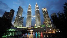 偶象双峰塔在吉隆坡,马来西亚 库存照片