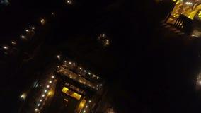 偶象古老上城小山空中夜录影和帕台农神庙在晚上,雅典历史的中心 股票视频