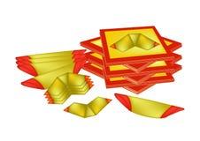 偶象纸和中国金报纸中国庆祝的 免版税库存图片