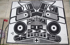 偶象超级Duper伴音系统壁画约书亚印度街墙壁上的项目的Abram霍华德在布鲁克林 免版税库存图片