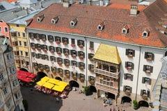 偶象金黄屋顶(Goldenes Dachl)在因斯布鲁克,奥地利 免版税库存图片
