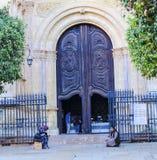 偶象马拉加大教堂西班牙的华丽门 免版税库存照片