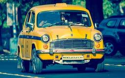 偶象黄色出租汽车在加尔各答加尔各答印度 免版税库存图片