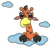 偷看从云彩的长颈鹿 免版税库存照片