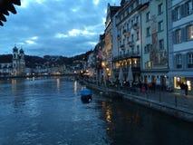 傍晚在Lucern 免版税图库摄影