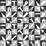 储蓄传染媒介例证套家庭修理用工具加工象 建筑为背景的大厦工具 黑白颜色 向量例证