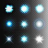 储蓄传染媒介例证集合球闪电透明背景 抽象等离子球形 放电,星,闪光, 库存例证