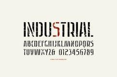 储蓄传染媒介钢板蜡纸板材Sans Serif狭窄的字体 库存例证