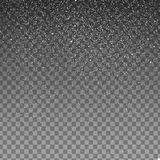 储蓄在透明背景隔绝的例证落的雪 雪花,降雪 免版税图库摄影