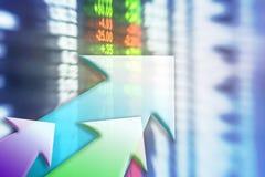储蓄委员会行动迷离有五颜六色的箭头的构造了在投资概念的背景 免版税库存照片