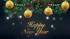 储蓄录影在夜冬天天空的新年快乐美好的文本出现动画 文本由星制成 HD 1080 皇族释放例证