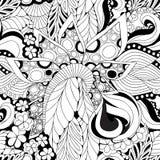 储蓄无缝的抽象单色乱画花和波浪 免版税库存照片