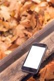 储蓄照片:放置在长凳的智能手机 库存图片