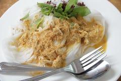 储蓄照片:泰国细面条吃用咖喱 库存照片