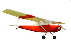 储蓄照片:老经典飞机被隔绝的白色背景 免版税图库摄影