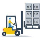 储藏服务,叉式装载机司机装货箱子 图库摄影