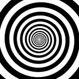 催眠圈子摘要白色黑错觉传染媒介螺旋漩涡样式背景 库存图片