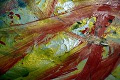 催眠红色橙色金子黑暗,绘抽象创造性的背景 库存图片