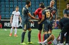 傲德萨,乌克兰- 2016年9月15日:受伤的足球运动员ly 免版税库存照片
