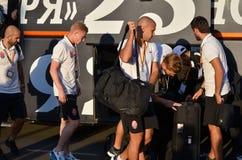 傲德萨,乌克兰- 2016年9月15日:足球运动员FC Zarya事假 库存图片