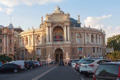 傲德萨,乌克兰- 2015年8月24日:歌剧和芭蕾傲德萨全国学术剧院的看法  免版税库存照片