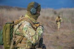 傲德萨,乌克兰- 2015年12月02日:以特写镜头的形式战士 免版税库存图片