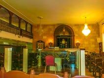 傲德萨,乌克兰- Jily 09日2017年:犹太教堂拜特Habad的内部在傲德萨,乌克兰 库存图片