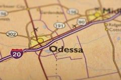 傲德萨,地图的得克萨斯 库存照片