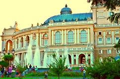 傲德萨,歌剧, architectura,纪念碑,夏天,平衡 免版税库存图片