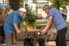 傲德萨 乌克兰 2018年 07 26 老年人戏剧棋在公园 活跃退休的人、老朋友和业余时间,两个前辈h 免版税图库摄影