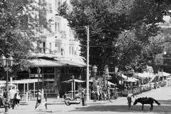 傲德萨 Deribasovskaya街道 免版税图库摄影