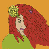 傲慢女孩画象有红色头发的 库存图片