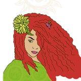 傲慢女孩画象有红色头发的 图库摄影