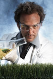 傻笑的疯狂的科学家倾吐的液体 库存照片