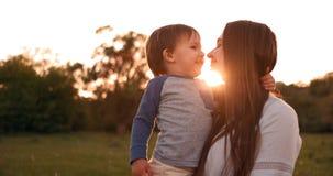 儿子亲吻他的坐在领域拥抱和爱恋的母亲的日落的母亲 r 股票视频