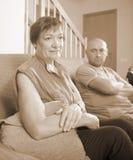 儿子和年长母亲在争吵期间 库存图片
