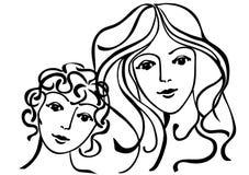 儿子妇女年轻人 皇族释放例证
